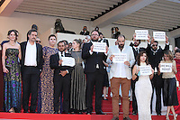 DIRECTOR KLEBER MENDONCA FILHO WITH PART OF THE CAST - RED CARPET OF THE FILM 'AQUARIUS' AT THE 69TH FESTIVAL OF CANNES 2016