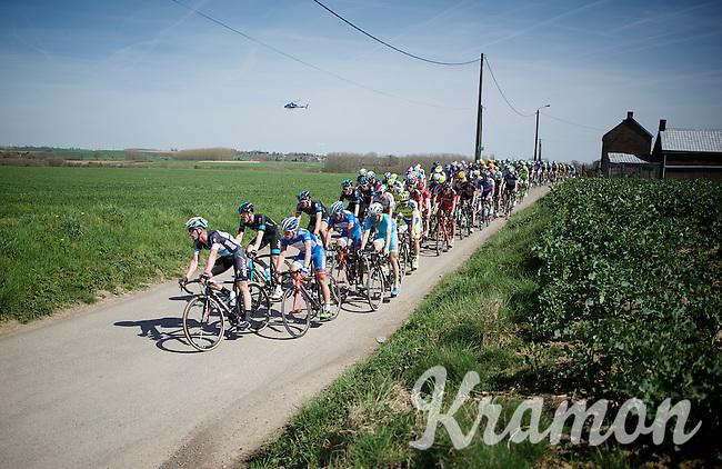 Large regrouping of the peloton after sector 25: Quiévy to Saint-Python (3.7km). Iljo Keisse (BEL/Etixx-QuickStep) leading them.<br /> <br /> 113th Paris-Roubaix 2015