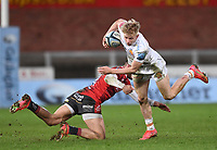 26th March 2021; Kingsholm Stadium, Gloucester, Gloucestershire, England; English Premiership Rugby, Gloucester versus Exeter Chiefs; Jonny May of Gloucester tackles Josh Hodge of Exeter Chiefs