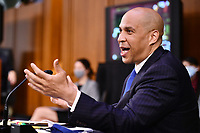 United States Senator Cory Booker (Democrat of New Jersey), speaks during a US Senate Judiciary Committee business meeting  in the Hart Senate Office Building on Capitol Hill in Washington, DC on October 15, 2020.<br /> Credit: Mandel Ngan / Pool via CNP /MediaPunch