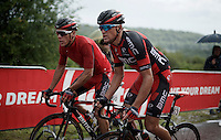 Philippe Gilbert (BEL/BMC) & Greg Van Avermaet (BEL/BMC) together up 'Le Petit Poggio' in the rain<br /> <br /> Belgian National Road Cycling Championships 2016<br /> Les Lacs de l'Eau d'Heure