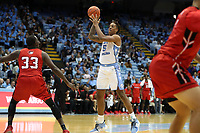 CHAPEL HILL, NC - NOVEMBER 01: Armando Bacot #5 of the University of North Carolina passes the ball during a game between Winston-Salem State University and University of North Carolina at Dean E. Smith Center on November 01, 2019 in Chapel Hill, North Carolina.