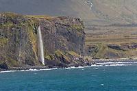 """Küste zwischen Arnarstapi und Hellnar, Wasserfall stürzt direkt ins Meer, Halbinsel Snæfellsnes, West-Island, Felsküste, Meeresküste, Kliffs, Kliffe, """"Ströndin"""", Nordatlantik, Atlantik, Atlantischer Ozean, Island, Iceland"""