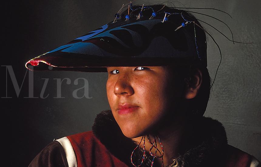 Portrait of a Native Alaskan Aleut man a traditional hat. Alaska.