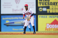 Danville Braves shortstop Nicholas Shumpert (1) on defense against the Elizabethton Twins at American Legion Post 325 Field on July 1, 2017 in Danville, Virginia.  The Twins defeated the Braves 7-4.  (Brian Westerholt/Four Seam Images)