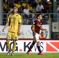Calcio, Serie A: Frosinone vs Roma. Frosinone, stadio Comunale, 12 settembre 2015.<br /> Roma's Juan Iturbe, right, celebrates after scoring during the Italian Serie A football match between Frosinone and Roma at Frosinone Comunale stadium, 12 September 2015. Roma won 2-0.<br /> UPDATE IMAGES PRESS/Isabella Bonotto