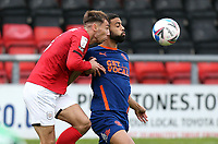 Blackpool's CJ Hamilton vies for possession with Crewe Alexandra's Harry Pickering<br /> <br /> Photographer Rich Linley/CameraSport<br /> <br /> The EFL Sky Bet League One - Crewe Alexandra v Blackpool - Saturday 17th October 2020 - Gresty Road - Crewe<br /> <br /> World Copyright © 2020 CameraSport. All rights reserved. 43 Linden Ave. Countesthorpe. Leicester. England. LE8 5PG - Tel: +44 (0) 116 277 4147 - admin@camerasport.com - www.camerasport.com