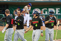 Adam Engel (26) of the Great Falls Voyagers and his team mates Jairo Kelly (5) Christian Stringer (4) and Tyler Shryock (12) celebrate after hitting a home run against the Ogden Raptors at Lindquist Field on August 16, 2013 in Ogden Utah.  (Stephen Smith/Four Seam Images)