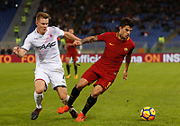 Roma's Diego Perotti, right, is challenged by Bologna's  Emil Krafth during the Serie A football match between Roma and Bologna at Rome's Olympic stadium, October 28, 2017.<br /> UPDATE IMAGES PRESS/Riccardo De Luca