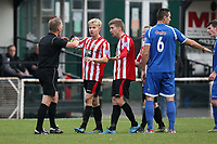 Alex Bentley and Lewis Smith of Hornchurch protest a decision to referee Michael George - AFC Hornchurch vs Bishop's Stortford - FA Trophy 3rd Qualifying Round Football at The Stadium, Upminster Bridge, Essex - 10/11/12 - MANDATORY CREDIT: Gavin Ellis/TGSPHOTO - Self billing applies where appropriate - 0845 094 6026 - contact@tgsphoto.co.uk - NO UNPAID USE