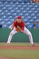 Clearwater Threshers third baseman Mitch Walding (10) fields a ground ball during a game against the Tampa Yankees on April 21, 2015 at Bright House Field in Clearwater, Florida.  Clearwater defeated Tampa 3-0.  (Mike Janes/Four Seam Images)