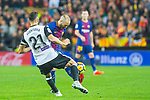 Martin Montoya Torralbo of Valencia CF competes for the ball with Andres Iniesta Lujan of FC Barcelona during the La Liga 2017-18 match between Valencia CF and FC Barcelona at Estadio de Mestalla on November 26 2017 in Valencia, Spain. Photo by Maria Jose Segovia Carmona / Power Sport Images
