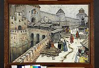 Wasnezow, Appolinari Michailowitsch (1856-1933), Moskau des 17. Jahrhunderts. Buchl䤥n auf der Erl-BrAquarell und Kohle auf Papier, 49,5x66,4, 1902, Russland, Historienmalerei, Staatliche Tretjakow-Galerie, Moskau. | Vasnetsov, Appolinari Mikhaylovich (1856-1933), Moscow in the 17th Century. Bookshops on the Christ the Saviour Bridge, Watercolour and coal on paper, 49,5x66,4, Russia, 1902, History painting, State Tretyakov Gallery, Moscow,  Credit: culture-images/fai  Persoenlichkeitsrechte werden nicht vertreten.  Verwendung / usage: weltweit / worldwide