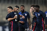 WIENER NEUSTADT, AUSTRIA - MARCH 25: Sergino Dest #2 of the United States celebrates scoring with teammates during a game between Jamaica and USMNT at Stadion Wiener Neustadt on March 25, 2021 in Wiener Neustadt, Austria.
