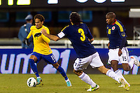 Neymar (11) of Brazil is defended by Mario Alberto Yepes (3) of Colombia. Brazil (BRA) and Colombia (COL) played to a 1-1 tie during international friendly at MetLife Stadium in East Rutherford, NJ, on November 14, 2012.