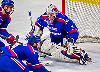 19 January 2018: University of Massachusetts Lowell Riverhawks Goaltender Tyler Wall, a Sophomore from Leamington, Ontario, makes a third period save against the University of Vermont Catamounts at Gutterson Fieldhouse in Burlington, Vermont. The Riverhawks rallied to defeat the Catamounts 3-2 in overtime of their Hockey East matchup. Mandatory Credit: Ed Wolfstein Photo *** RAW (NEF) Image File Available ***