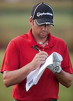 PONTE VEDRA BEACH, FL - MAY 6: Defending champion Sergio Garcia signs an autograph on the practice tee prior to his practice round on Wednesday, May 6, 2009 for the Players Championship, beginning on Thursday, at TPC Sawgrass in Ponte Vedra Beach, Florida..