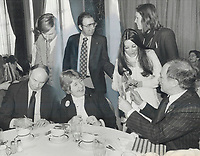 1979 FILE PHOTO - ARCHIVES -<br /> <br /> Friendly break. Ursula Apoloni, left, a Liberal contender in the Toronto area, doesn't seem to mind a bit yesterday at the Royal York Hotel as an attractive woman momentarily takes Pierre Trudeau's mind off his task of getting back in the prime minister's seat. It was the Liberal leader's first visit to Toronto in the election campaign.<br /> <br /> 1979,<br /> <br /> PHOTO : Graham Bezant - Toronto Star Archives - AQP