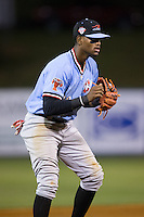 Hickory Crawdads third baseman Ti'Quan Forbes (10) on defense against the Kannapolis Intimidators at Kannapolis Intimidators Stadium on April 9, 2016 in Kannapolis, North Carolina.  The Crawdads defeated the Intimidators 6-1 in 10 innings.  (Brian Westerholt/Four Seam Images)