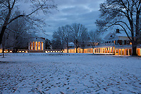 Rotunda with early morning snow covered lawn at the University of Virginia.