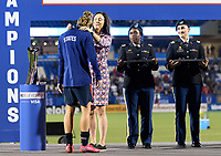 FRISCO, TX - MARCH 11: Tobin Heath #17 of the United States receives her medal during a game between Japan and USWNT at Toyota Stadium on March 11, 2020 in Frisco, Texas.