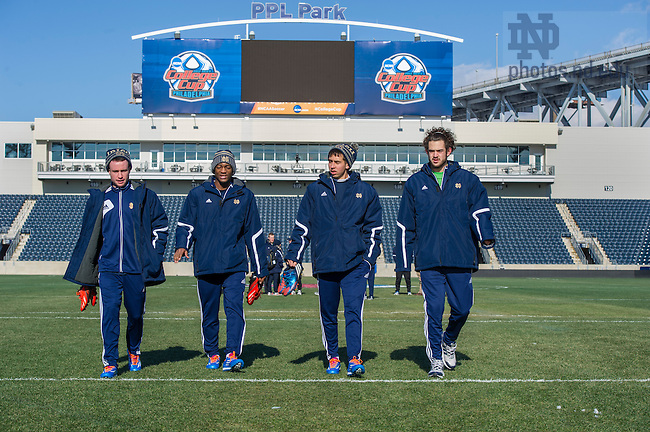 Dec 12, 2013; Notre Dame men's soccer team does a walk through at PPL Park where they will play against New Mexico in the semifinals of the NCAA Championship tomorrow night in Chester, Pa. This season marks the program's first appearance in the College Cup. Photo by Barbara Johnston/University Photographer