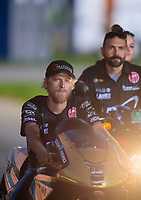 Sep 1, 2019; Clermont, IN, USA; NHRA pro stock motorcycle rider Cory Reed during qualifying for the US Nationals at Lucas Oil Raceway. Mandatory Credit: Mark J. Rebilas-USA TODAY Sports
