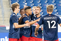 FOXBOROUGH, MA - JUNE 26: Damian Rivera #72 of the New England Revolution is congratulated for his penalty goal during a game between North Texas SC and New England Revolution II at Gillette Stadium on June 26, 2021 in Foxborough, Massachusetts.