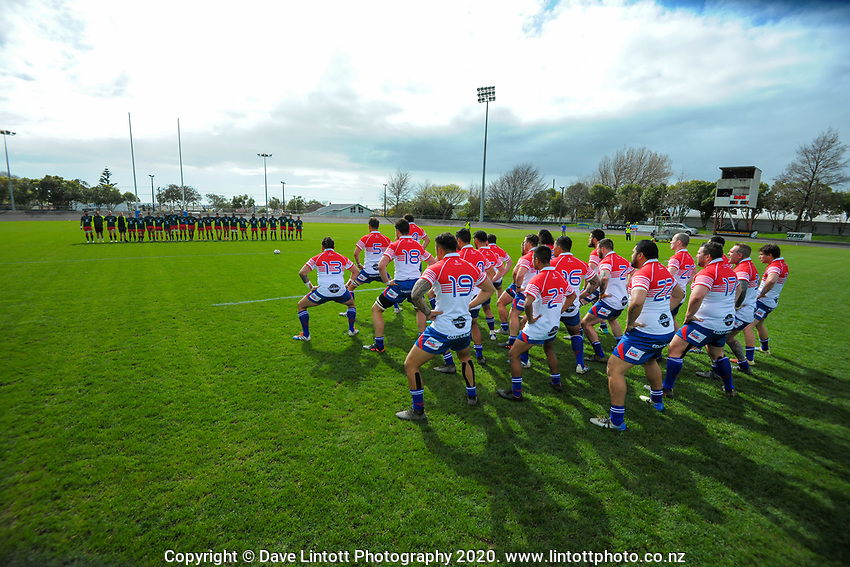 The Horowhenua Kapiti team perform a haka before the Heartland Championship and PGG Wrightson Cup rugby match between Horowhenua-Kapiti and Wairarapa Bush at Levin Domain in Levin, New Zealand on Saturday, 8 August 2020. Photo: Dave Lintott / lintottphoto.co.nz