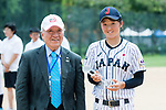 Catcher Ogata Yuka #2 of Japan is awarded the Most Valuable Player award for the BFA Women's Baseball Asian Cup during the BFA Women's Baseball Asian Cup Presentation Ceremony at Sai Tso Wan Recreation Ground on September 7, 2017 in Hong Kong, China. Photo by Yu Chun Christopher Wong / Power Sport Images