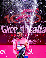 ITALIA. 07-05-2017. Fernando Gaviria -Col- (Quick-Step Floors) celebra como lider general - Malla Rosa - de la carrera después de ganar la etapa 3 entre Tortoli' a Cagliari con 148 kms de la versión 100 del Giro de Italia hoy 07 de mayo de 2017. / Fernando Gaviria -Col- (Quick-Step Floors) celebrates as overal leader - Maglia Rosa - of the race after winning stage 3 between Tortoli 'to Cagliari with 148 kms of the 100 version of the Giro d'Italia today 07 May 2017 Photo: VizzorImage/ Spada/ LaPresse<br /> VizzorImage PROVIDES THE ACCESS TO THIS PHOTOGRAPH ONLY AS A PRESS AND EDITORIAL SERVICE AND NOT IS THE OWNER OF COPYRIGHT; ANOTHER USE HAVE ADDITIONAL PERMITS AND IS  REPONSABILITY OF THE END USER