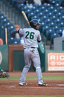 Manuel Geraldo (26) of the Augusta GreenJackets at bat against the Greensboro Grasshoppers at First National Bank Field on April 10, 2018 in Greensboro, North Carolina.  The GreenJackets defeated the Grasshoppers 5-0.  (Brian Westerholt/Four Seam Images)