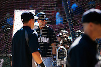 BOSTON, MASS. - SEPT. 28, 2014: Derek Jeter warms up during batting practice before the New York Yankees and Boston Red Sox play at Fenway Park. Frankie said he is a Red Sox fan but still wanted a Jeter signature. The game is last game of Derek Jeter's career. M. Scott Brauer for The New York Times