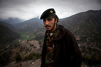 An ANA (Afghan National Army) soldier in the restive Korengal Valley, epicentre of the war and scene of fierce fighting with the Taliban.