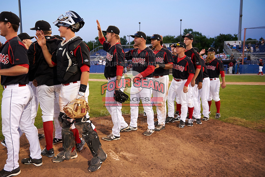 Batavia Muckdogs players Korey Dunbar, Steven Farnworth, Ryan Cranmer, Brad Haynal and Kyle Barrett celebrate after a game against the Mahoning Valley Scrappers on June 24, 2015 at Dwyer Stadium in Batavia, New York. Batavia defeated Mahoning Valley 1-0 as Gabriel Castellanos, Brett Lilek and Farnworth combined on the organizations first perfect game in team history. (Mike Janes/Four Seam Images)
