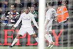 Real Madrid's Cristiano Ronaldo (l) and Daniel Carvajal celebrate goal during La Liga match. April 2,2016. (ALTERPHOTOS/Acero)