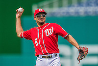 27 July 2013: Washington Nationals infielder Anthony Rendon warms up prior to a game against the New York Mets at Nationals Park in Washington, DC. The Nationals defeated the Mets 4-1. Mandatory Credit: Ed Wolfstein Photo *** RAW (NEF) Image File Available ***