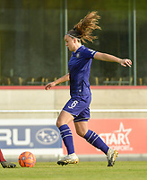 Anderlecht's midfielder Tine De Caigny  pictured during a female soccer game between RSC Anderlecht Dames and KRC Genk Ladies  on the sixth matchday of the 2020 - 2021 season of Belgian Womens Super League , Sunday 8 th of November 2020  in Overijse , Belgium . PHOTO SPORTPIX.BE | SPP | DIRK VUYLSTEKE