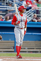 Williamsport Crosscutters outfielder Aaron Altherr #22 during the second game of a doubleheader against the Batavia Muckdogs at Dwyer Stadium on August 23, 2011 in Batavia, New York.  Batavia defeated Williamsport 2-1.  (Mike Janes/Four Seam Images)