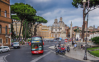 Travel Print Fine Art Landscape Photograph of Trajan's Forum. Located in Rome, Italy. <br /> A busy street photograph of the market area located near Trajan's Forum. <br /> The red bus and beautiful green trees stand out from the colourful buildings and blue sky.