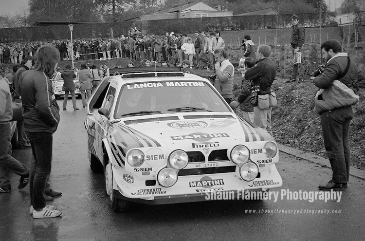Pix: Shaun Flannery/shaunflanneryphotography.com<br /> <br /> COPYRIGHT PICTURE>>SHAUN FLANNERY>01302-570814>>07778315553>><br /> <br /> November 1985<br /> Lancia Delta S4 - 1985 Lombard RAC Rally<br /> Scruitineering, Nottingham<br /> <br /> Registration number: A6 37352<br /> <br /> Car driven by Markku Alen & IIlla Kivimaki during the event.