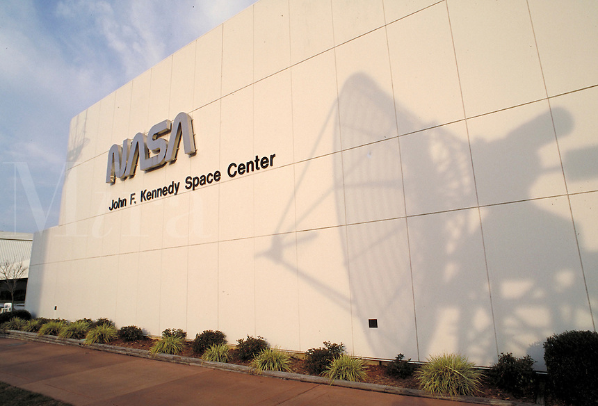 shadow of satellite dish on JFK Space Center