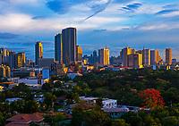 Skyline over Manila, Ortigas area, Wak wak Golf Course, Philippines
