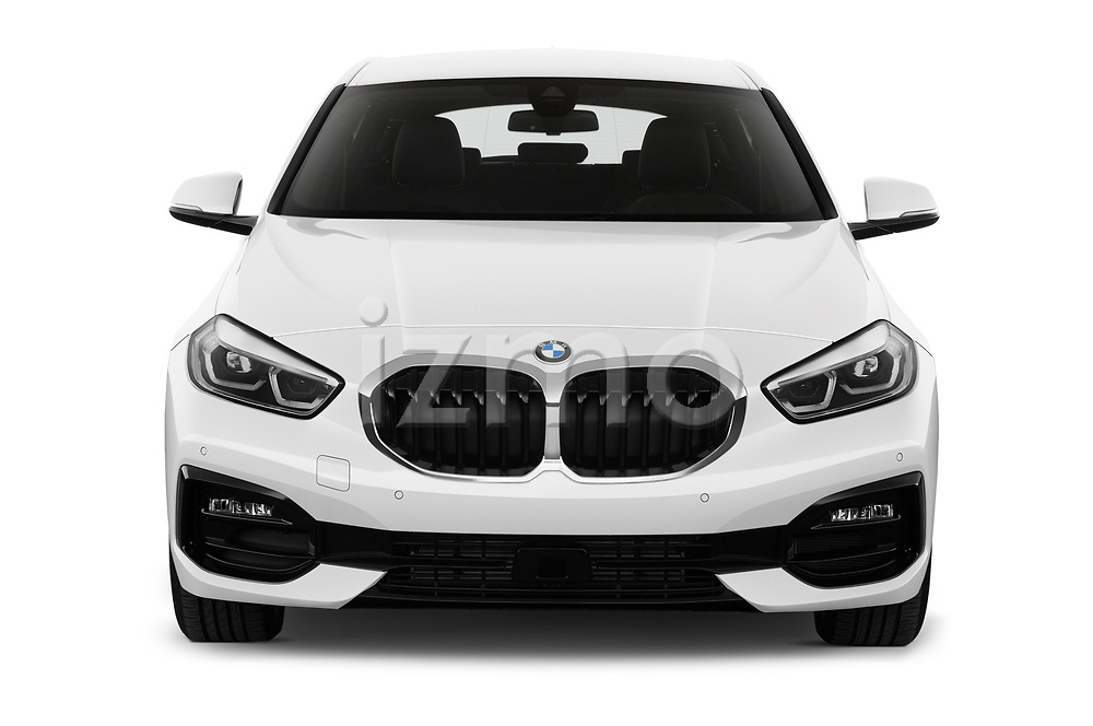 Car photography straight front view of a 2020 BMW 1-Series Sport 5 Door Hatchback Front View