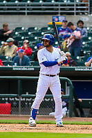 Iowa Cubs catcher Francisco Arcia (16) at bat during a Pacific Coast League game against the San Antonio Missions on May 2, 2019 at Principal Park in Des Moines, Iowa. Iowa defeated San Antonio 8-6. (Brad Krause/Four Seam Images)