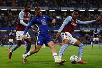 22nd September 2021; Stamford Bridge, Chelsea, London, England; EFL Cup football, Chelsea versus Aston Villa; Ross Barkley of Chelsea challenged by Ezri Konsa of Aston Villa