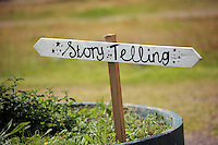 Pictured: A story telling sign Saturday 13 August 2016<br />