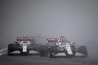 18th April 2021; Autodromo Enzo and Dino Ferrari, Imola, Italy; F1 Grand Prix of Emilia Romagna, Race Day;   07 RAIKKONEN Kimi fin, Alfa Romeo Racing ORLEN C41 throws up water as early race rain