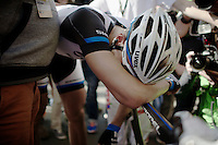 stage winner Marcel Kittel (DEU/Giant-Shimano) is very emotional and needs to catch his breath after the finish before he can go on to celebrate<br /> <br /> 2014 Tour de France<br /> stage 1: Leeds - Harrogate (190.5km)