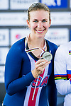 Sarah Hammer of USA receives the silver medal in the Women's Points Race 25 km's prize ceremony during the 2017 UCI Track Cycling World Championships on 16 April 2017, in Hong Kong Velodrome, Hong Kong, China. Photo by Marcio Rodrigo Machado / Power Sport Images